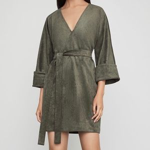 BCBGMAXAZRIA Faux suede mini dress in Olive